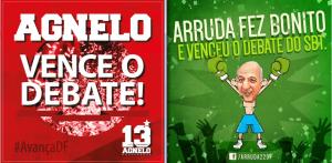 Publicações de Agnelo Queiroz (PT-DF) e José Roberto Arruda (PR-DF), sobre debate eleitoral. (Foto: Reprodução Facebook)