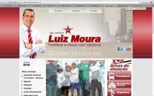 O site de Luiz Moura na internet (Reprodução)