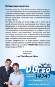Mensagem de Luiz Flávio Borges D'Urso, pedindo votos para o filho candidato a deputado estadual. (Foto: Divulgação)