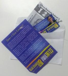 Material entregue pelo candidato a deputado federal Silas Eduardo (PDT-SP).