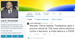 O ex-deputado federal Luiz Greenhalgh (PT-SP) afirma que dilma já está reeleita. (Reprodução / Twitter)