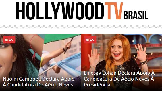 Site da Hollywood TV Brasil destacou o apoio das celebridades. (Foto: Reprodução / Internet)