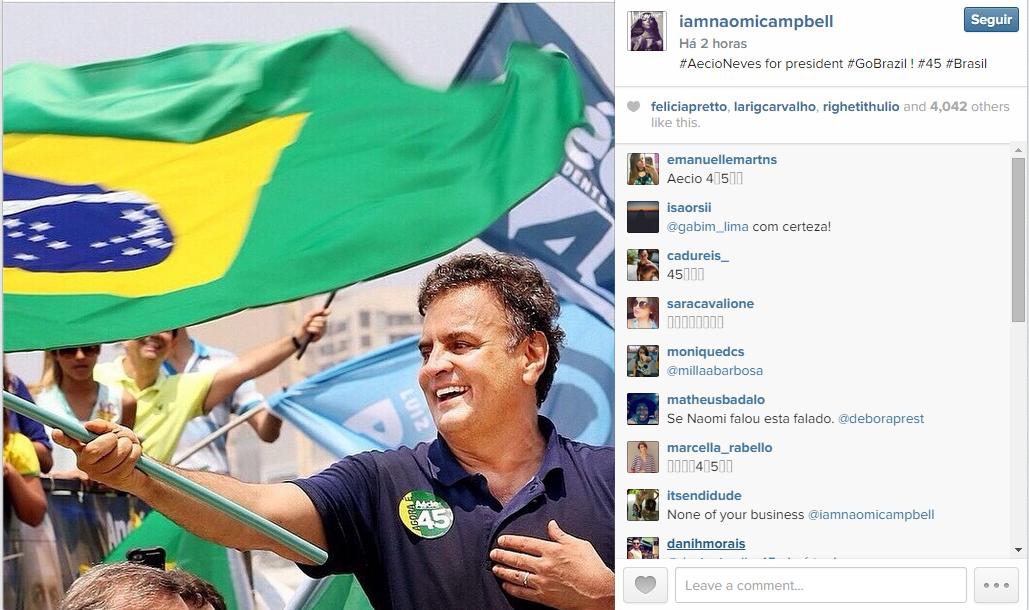 Naomi Campbell e Lindsay Lohan publicaram a mesma foto para apoiar Aécio Neves. (Reprodução / Instagram)