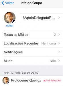 Grupo criado pelo deputado federal Protógenes Queiroz (PCdoB-SP). (Reprodução Whatsapp)