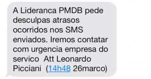 A mensagem enviada aos deputados do PMDB
