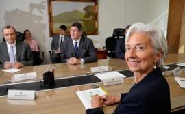 Ministro Joaquim Levy, em reunião com a diretora do FMI, Christine Lagarde.