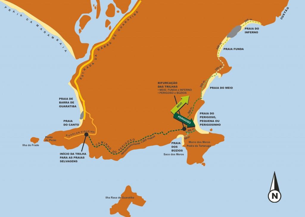 Mapa do livro mostra a localização das praias selvagens
