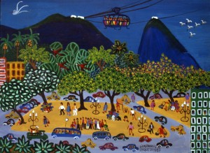 """O painel """"Rio de Janeiro, gosto de você, gosto dessa gente feliz..."""", de Lia Mittarakis, tem 4 x 7 metros (foto: divulgação)"""