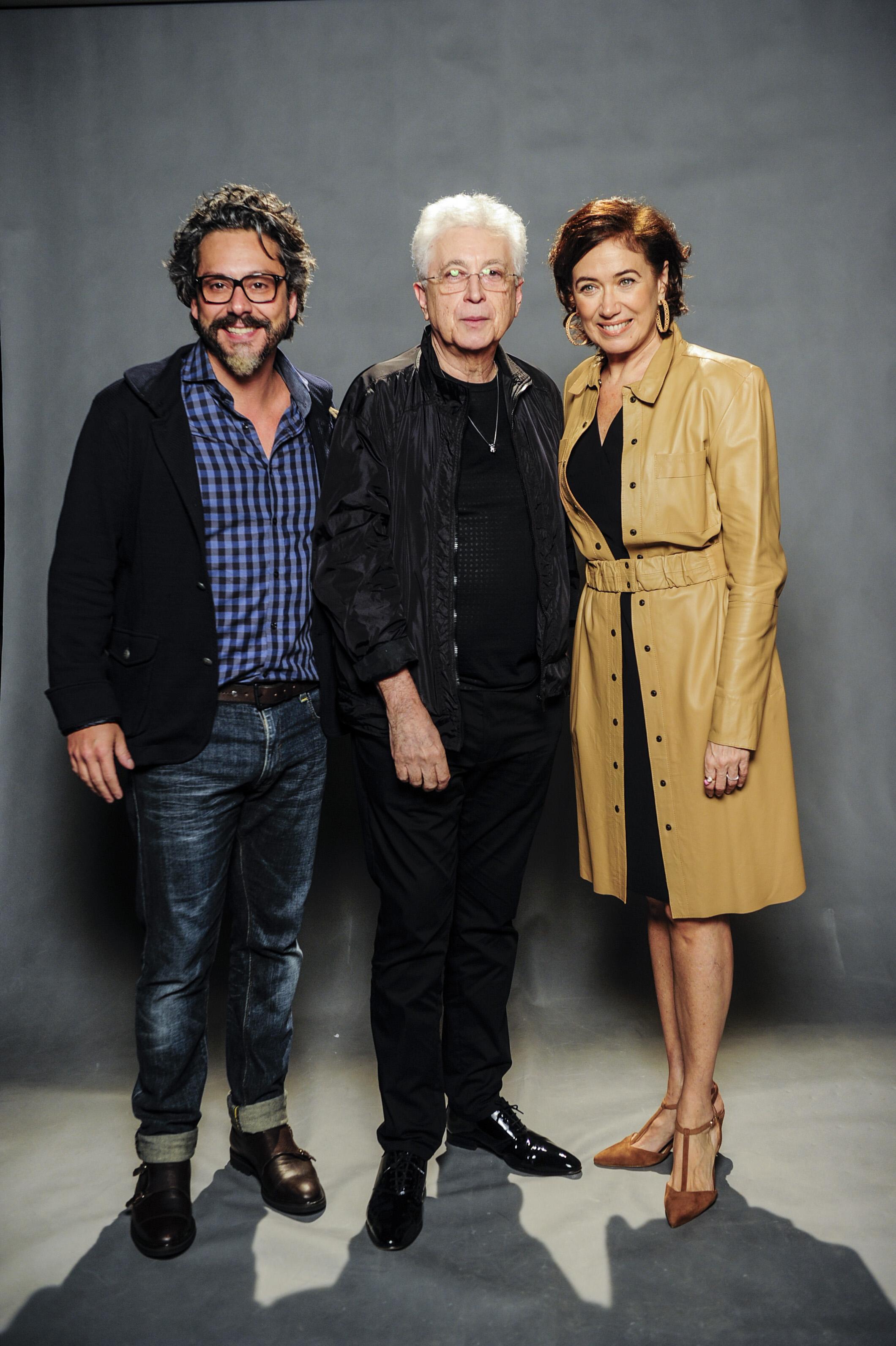 Nero e Lília com o criador da trama, Aguinaldo Silva. Crédito: Globo/Renato Rocha Miranda