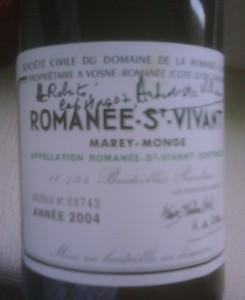 Rótulo do Romanée Saint Vivant autografado por Aubert de Villaine