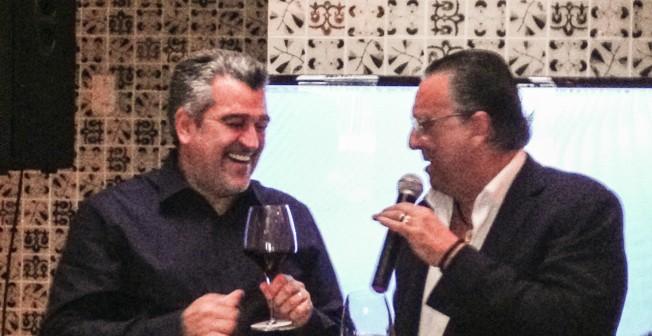 Roberto Cipresso e Galvão Bueno no lançamento do Brunello di Montalcino: bem amigos.