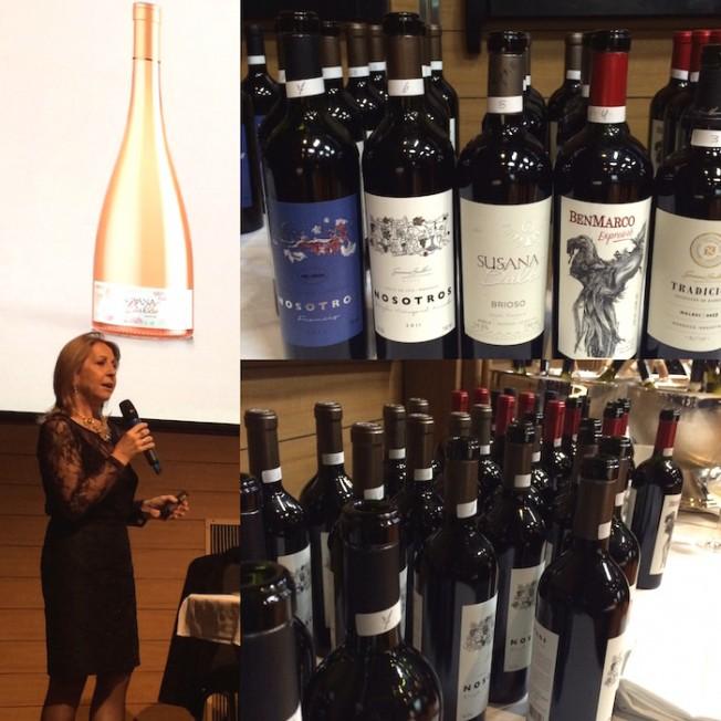 Susana Balbo, a criadoro do Crios, apresenta suas novas criações. O espumante rosé (ao fundo) é sensacional