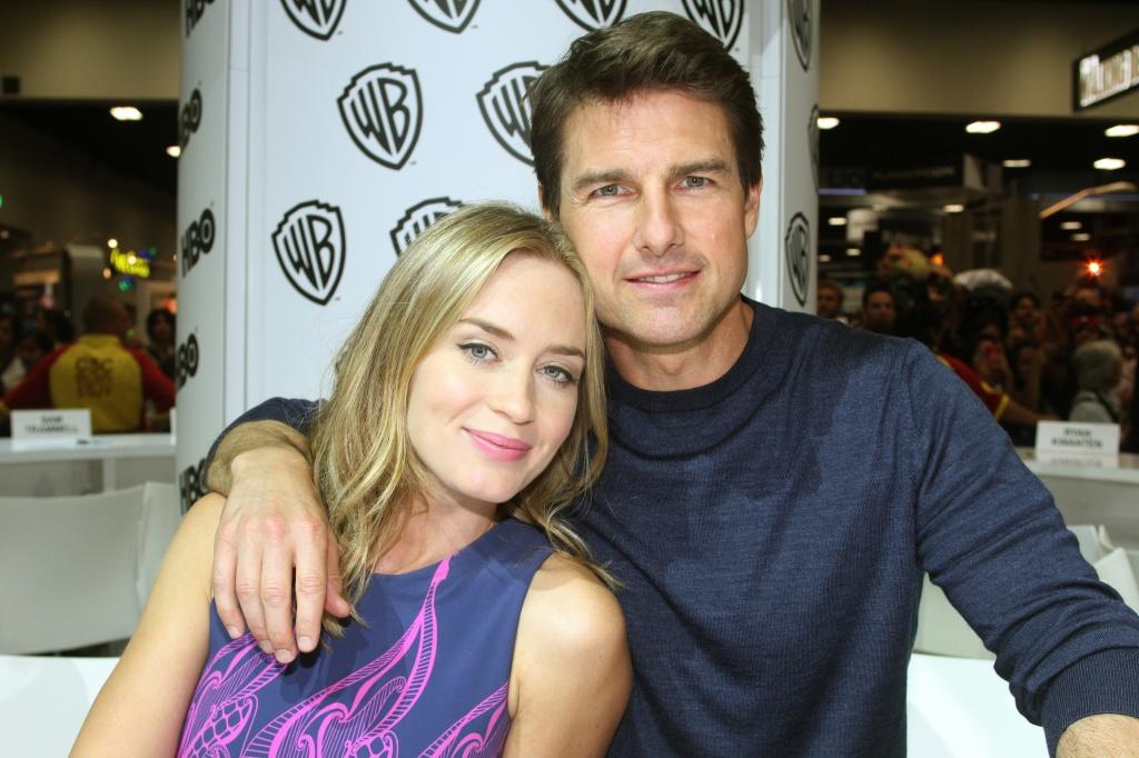 """Tom Cruise e Emily Blunt: Em """"No limite do amanhã"""", o ator cede mais espaço a sua co-protagonista  (Fotos: divulgação e Getty)"""