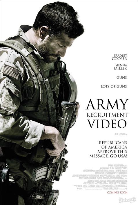 """""""Sniper americano"""" deveria se chamar """"Vídeo de recrutamento do exército""""  com a devida aprovação do partido Republicano..."""