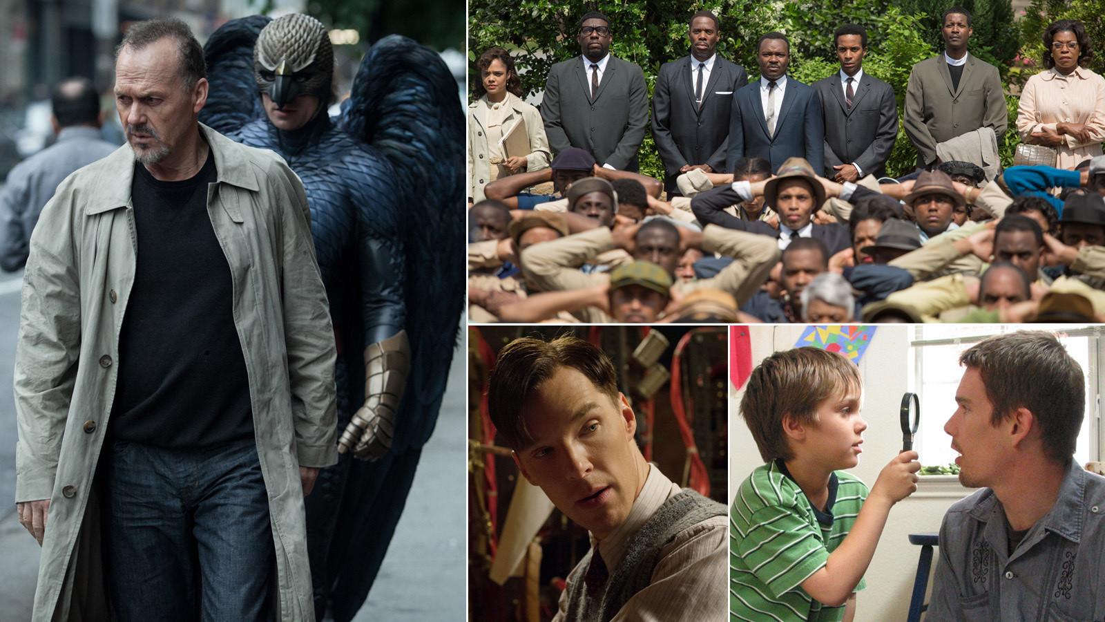"""Em sentido horário: o líder em indicações """"Birdman"""", o   azarão sólido """"Selma"""", o celebrado """"Boyhood"""" e o inglês tradicional """"O jogo da imitação"""" (Foto: montagem sobre reprodução)"""