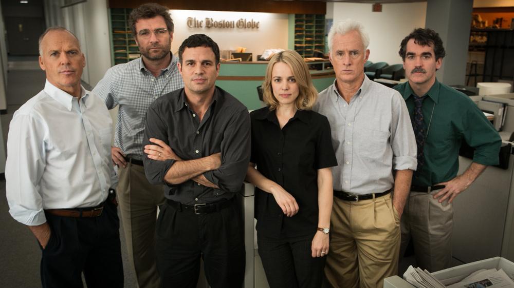 """O tarimbado elenco de """"Spotlight"""": Michael Keaton, Liev Schreiber, Mark Ruffalo, Rachel McAdams e John Slattery"""