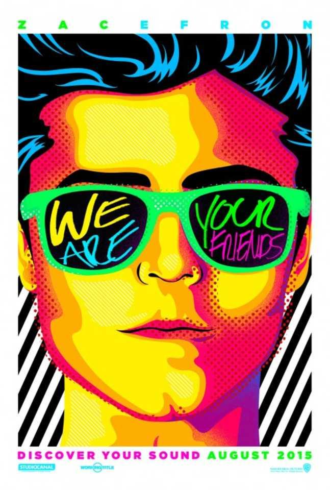 """Tem um q de Andy Warhol esse cartaz do injustiçado """"Música, Amigos e Festa"""""""