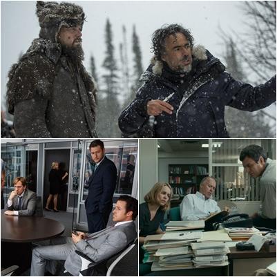 """Sentido horário: Iñárritu orienta DiCaprio embaixo de neve em uma das muitas locações de """"O Regresso"""". Michael Keaton, Rachel McAdams e Mark Ruffalo em cena de """"Spotlight"""" e Ryan Gosling apenas ouve em cena de """"A Grande Aposta"""" (Fotos: divulgação)"""