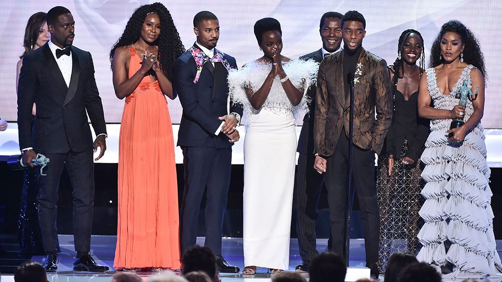 Mandatory Credit: Photo by Michael Buckner/Variety/REX/Shutterstock (10072664gq) Cast of 'Black Panther' 25th Annual Screen Actors Guild Awards, Show, Los Angeles, USA - 27 Jan 2019