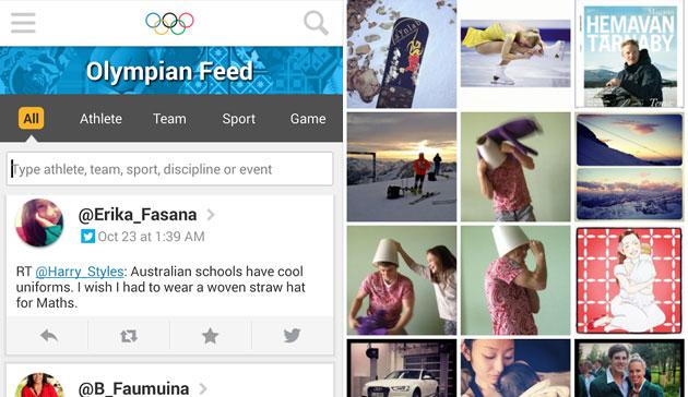Aplicativo lançado pelo COI  e que traz tudo o que os atletas olímpicos compartilham em redes sociais