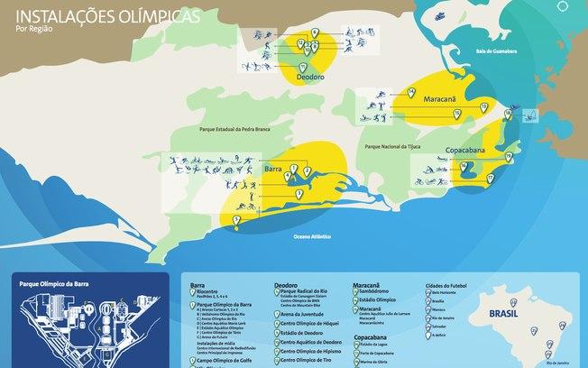 Mapa com as instalações esportivas dos Jogos Olímpicos do Rio 2016, cujos ingressos estão à venda desde a última terça-feira