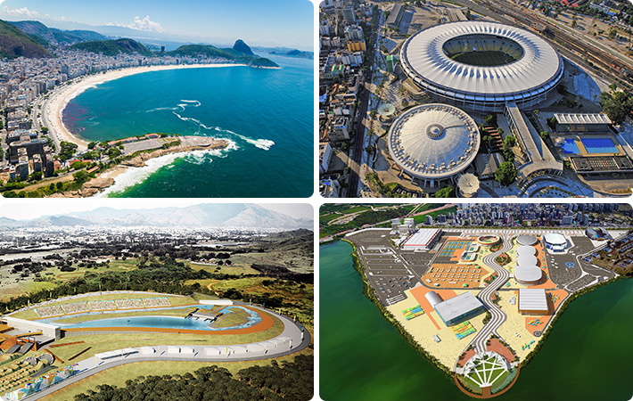 As quatro regiões que receberão competições no Rio 2016: Copacabana, Maracanã, Deodoro e Parque Olímpico da Barra