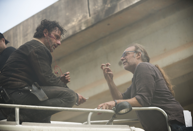 >>> NOT TO BE USED UNTIL 10/24/16 at 1:00 AM EST <<< BTS, Andrew Lincoln as Rick Grimes, Executive Producter Greg Nicotero - The Walking Dead _ Season 7, Episode 1 - Photo Credit: Gene Page/AMC